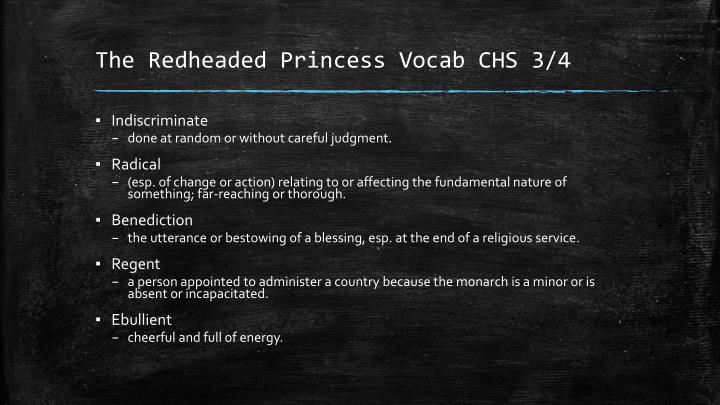 The redheaded princess vocab chs 3 4