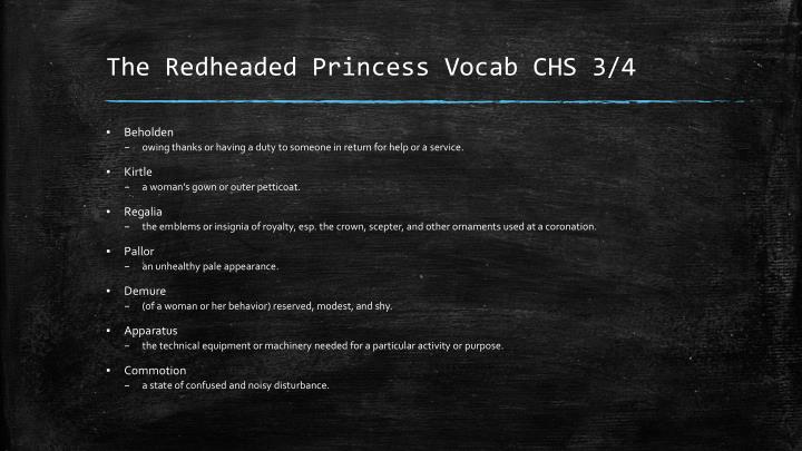The redheaded princess vocab chs 3 41