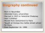 biography continued