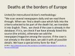 d eaths at the borders of europe