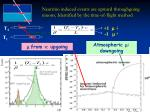 neutrino induced events are upward throughgoing muons identified by the time of flight method