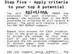 step five apply criteria to your top 8 potential solutions1