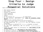 step four design criteria to judge potential solutions1