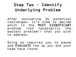 step two identify underlying problem