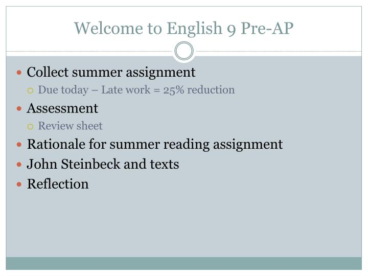 welcome to english 9 pre ap n.