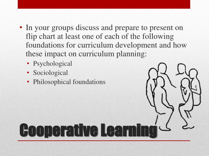 In your groups discuss and prepare to present on flip chart at least one of each of the following foundations for curriculum development and how these impact on curriculum planning: