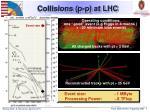 collisions p p at lhc