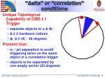 elta or correlation conditions