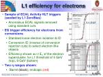 l1 efficiency for electrons