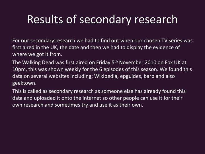 Results of secondary research
