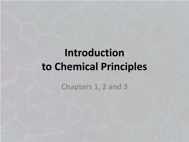 introduction to chemical principles n.