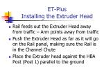 et plus installing the extruder head