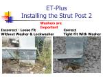 et plus installing the strut post 21