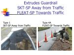 extrudes guardrail skt sp away from traffic fleat sp towards traffic