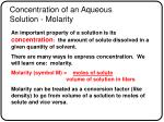 concentration of an aqueous solution molarity