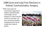 1989 june and july free elections in poland czechoslovakia hungary