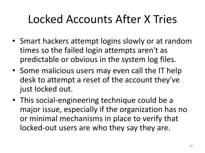 Locked Accounts After X Tries