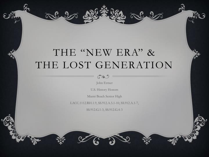 the new era the lost generation n.