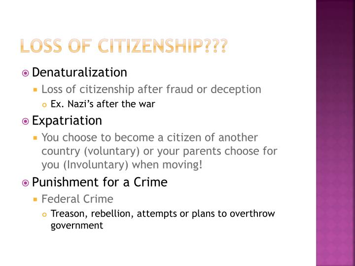 Loss Of Citizenship???
