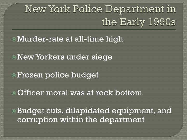 New york police department in the early 1990s