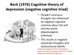 beck 1976 cognitive theory of depression negative cognitive triad1