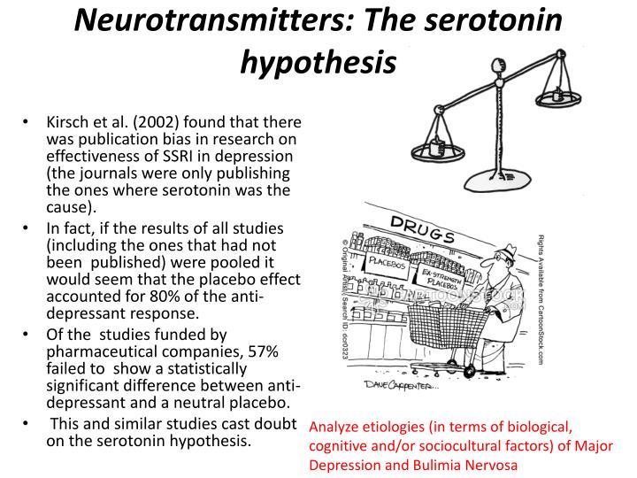 Neurotransmitters: The serotonin hypothesis