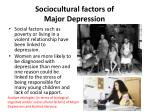 sociocultural factors of major depression