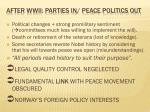 after wwii parties in peace politics out