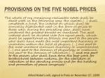 provisions on the five nobel prices