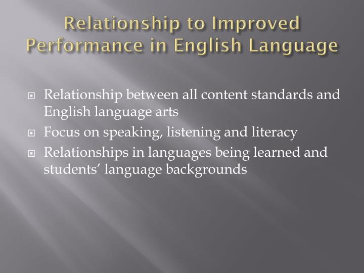 Relationship to Improved Performance in English Language