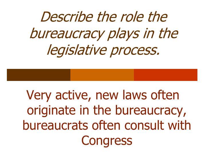 Describe the role the bureaucracy plays in the legislative process.