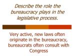 describe the role the bureaucracy plays in the legislative process