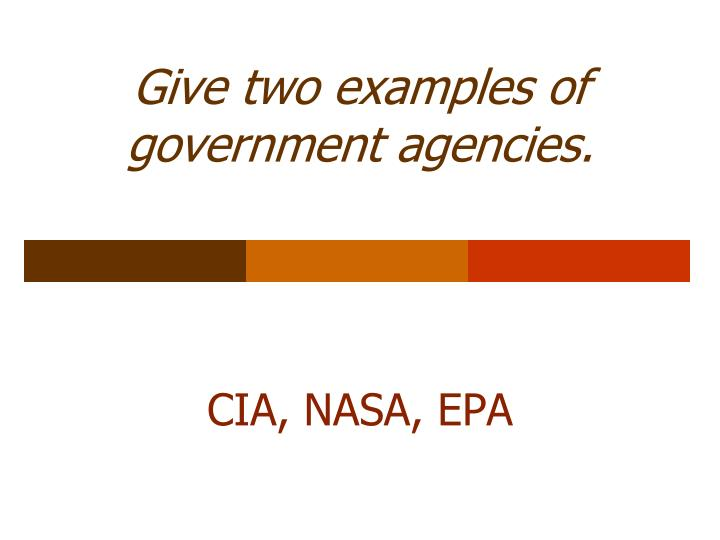 Give two examples of government agencies.