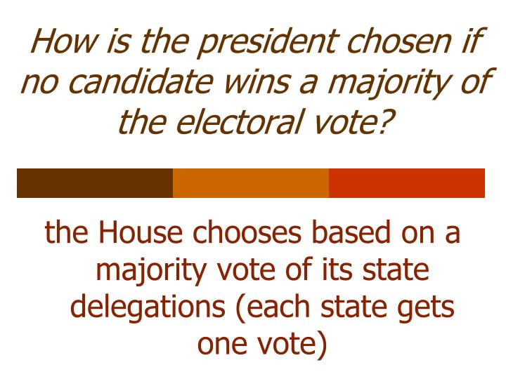 How is the president chosen if no candidate wins a majority of the electoral vote?