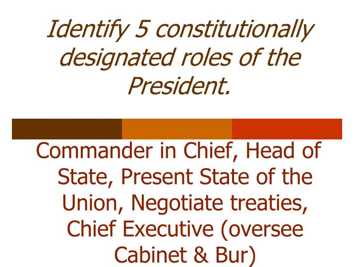 Identify 5 constitutionally designated roles of the President.