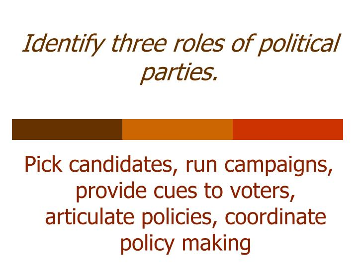 Identify three roles of political parties.