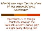identify two ways the role of the vp has expanded since eisenhower