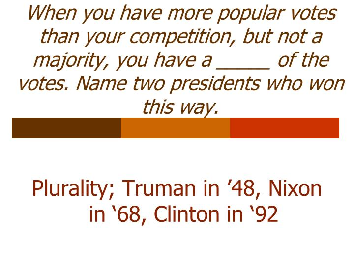 When you have more popular votes than your competition, but not a majority, you have a _____ of the votes. Name two presidents who won this way.