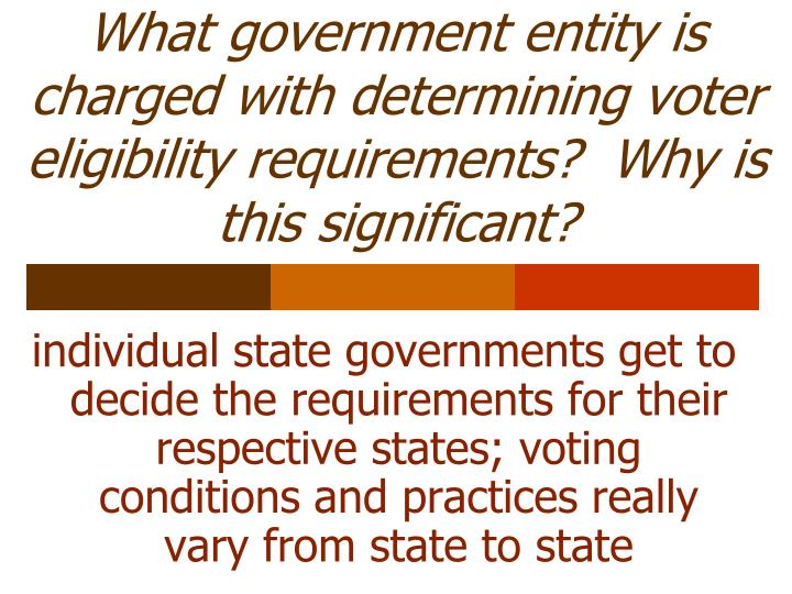 What government entity is charged with determining voter eligibility requirements?  Why is this significant?
