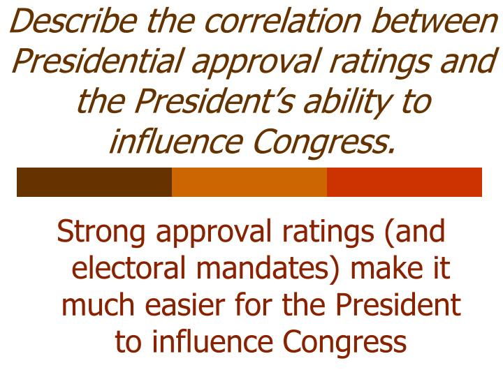 Describe the correlation between Presidential approval ratings and the President's ability to influence Congress.