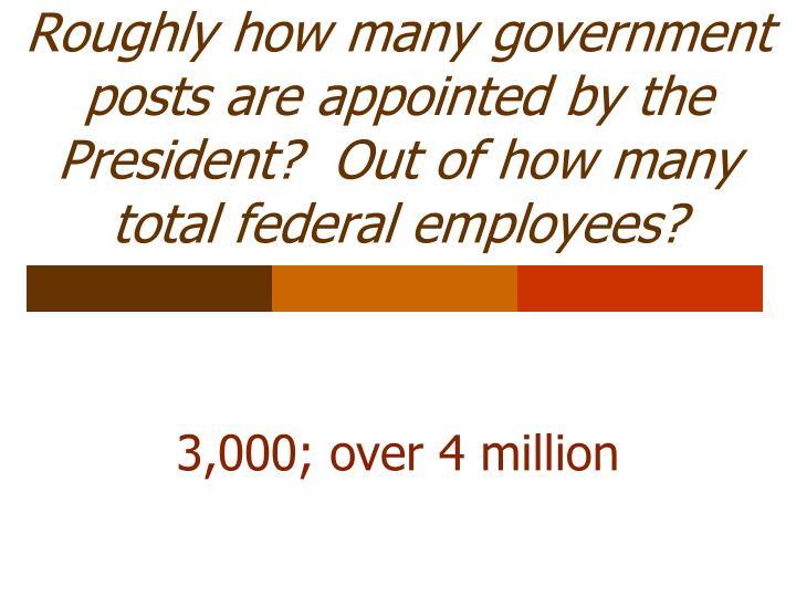 Roughly how many government posts are appointed by the President?  Out of how many total federal employees?