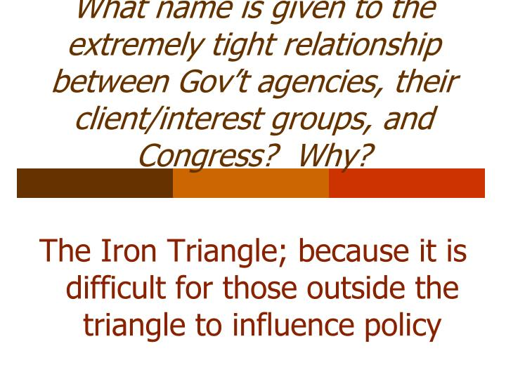 What name is given to the extremely tight relationship between Gov't agencies, their client/interest groups, and Congress?  Why?