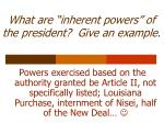 what are inherent powers of the president give an example