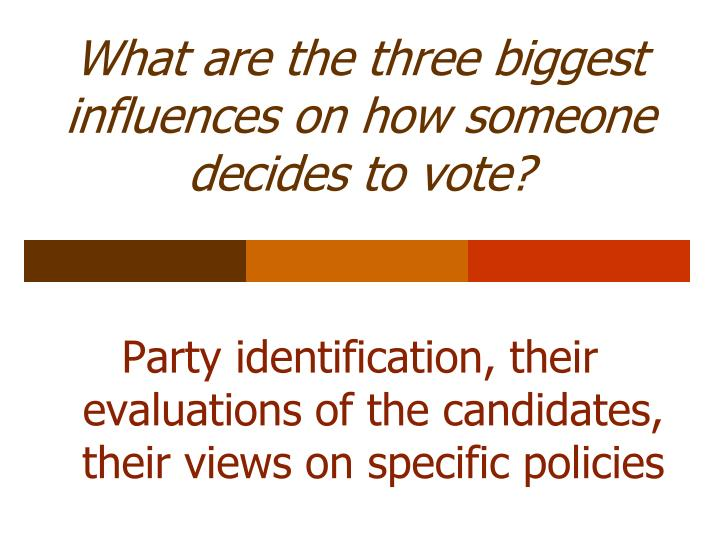 What are the three biggest influences on how someone decides to vote?