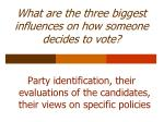 what are the three biggest influences on how someone decides to vote