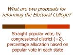 what are two proposals for reforming the electoral college