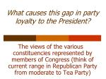 what causes this gap in party loyalty to the president