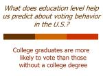 what does education level help us predict about voting behavior in the u s