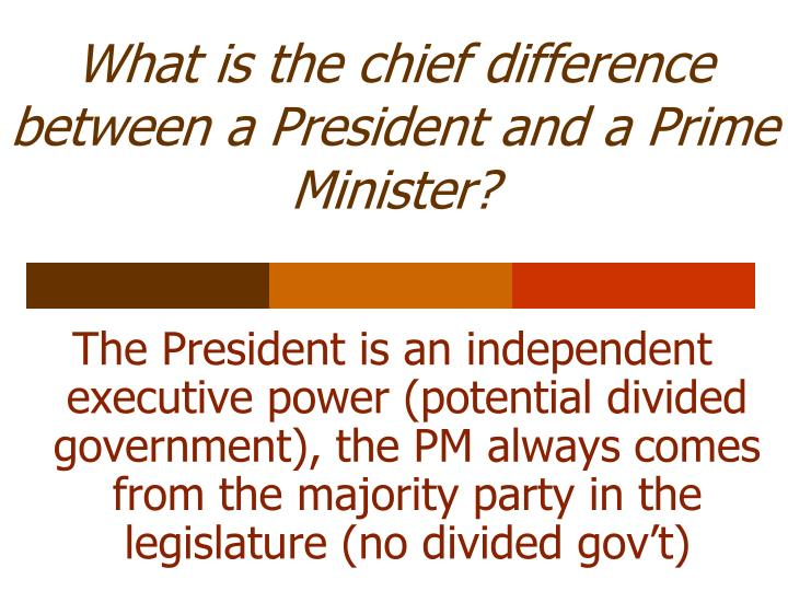What is the chief difference between a President and a Prime Minister?