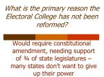 what is the primary reason the electoral college has not been reformed